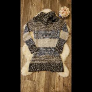 BOGO Blue Heart Cowl neck Tunic Sweater